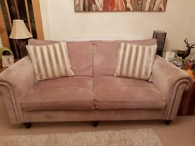 Two beige grande Duresta sofas and footstool. Immaculate condition from smoke/pet free home.