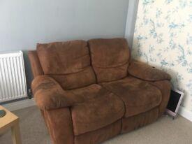 2 seater recliner sofa brown