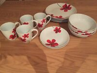 Dinner set poppy red and white excellent condition