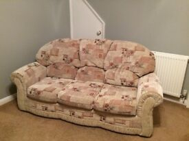 3 piece suite - 3 seater sofa and 2 armchairs