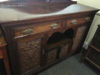 Striking Antique Edwardian Carved Mahogany Buffet Sideboard Server