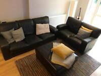 2X Black Leather Sofas & Leather Foot Rest