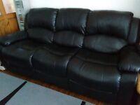Black Leather Three Piece Sofa Suite