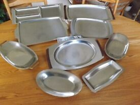 9 Stainless Steel serving trays/dishes 1960's in assorted sizes