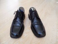 barker savile row mens/boys all leather black lace ups smart/school shoes - size 7