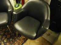 2 TUB TYPE CHAIRS ,BLACK FLUX LEATHER
