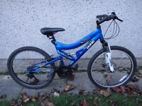 Dyno 180 MC blue bike 24 in wheels 21 gears 16 in aluminium frame full suspension front disc brake