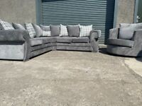 Grey Harvey's chesterfield corner sofa & cuddle swivel sofa, couch, suite, furniture 🚚🚚🚛