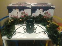 LARGE+STRONG CHRISTMAS TREE STAND, GARLAND+LIGHTS AND STORAGE BOXES