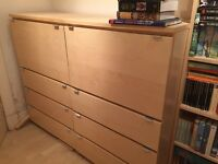 IKEA desk / bureau with 3 drawers. In light birch.