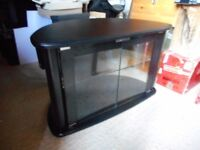 TV cabinet black with glass doors