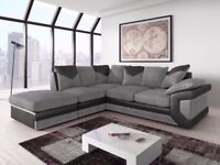 Dino Corner Sofa In Black & Grey or Brown & Beige With a Footstool or 2+3 Seater
