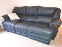 Sofa. Blue leather 3 seater