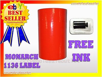 Fluorescent Red Labels For Monarch 1136 Pricing Gun 1 Sleeve8rolls