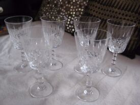 6 Classic Waterford Crystal Cut Glass Crystal Goblets