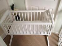 Mothercare White Swinging Crib and Airflow Foam Mattress