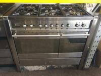 Stainless steel smeg 100cm five burners dual fuel cooker grill & double fan ovens with guarantee