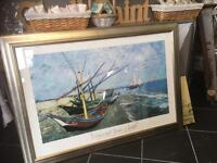 LARGE VINCENT VAN GOGH PRINT FISHING BOATS ON THE BEACH