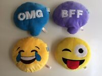 "12"" Emoji Emotion Round Cushions x 4 (OMG, BFF, Crying with Laughter, Tongue Wink)."