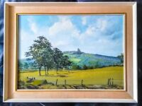 LOVELY ORIGINAL OIL PAINTING....TITLED Mow Cop Castle, Staffordshire, signed.