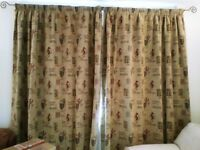 CURTAINS ONE PAIR LINED FLOOR LENGTH PENCIL PLEAT WOVEN VG QUALITY GOLD BURGUNDY BEIGE