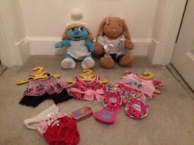 Build a bear smurfette bear( limited edition) other bear , 5 outfits and accessories