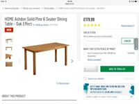 Solid Pine Oak Effect Dining Table 150cm