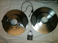 FIAT 500 1.2 2008> TWO FRONT BRAKE DISCS & FRONT FOUR PADS SET