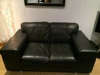 2 X 2 Seater Sofas Black Leather Silver Feet Fab Codition!