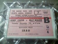 Henry cooper vs billy walker ticket £100 cash
