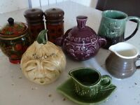 Retro & quirky tableware, serves beetroot, pickled onions, mint sauce, salt & pepper, jug, tankard