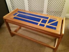 Sturdy wooden unit / table - 1970s retro vintage - Cobalt Blue bespoke - One of a kind