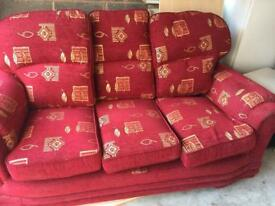 3 piece sofa settee in red colour cloth material