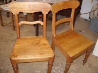 Lovely pair of Victorian maple antique kitchen country chairs, two old chairs