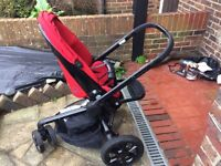 Red Quinny Mood Pushchair-used for about 6 months, including raincover and baby nest.