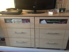 Beech effect wardrobe with matching double set drawers good condition