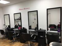 4 hairdresser stations has foot rest and hairdryer space
