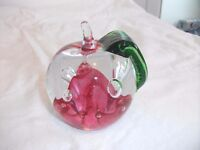 """Vintage Caithness Apple Paperweight """"Windfall Ruby"""". Good Condition."""