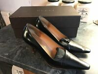 Designer Gucci Black Leather Pointed Square Toe Pumps uk8 eu41
