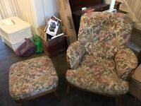 2 Vintage Ercol armchairs and footstool in excellent condition
