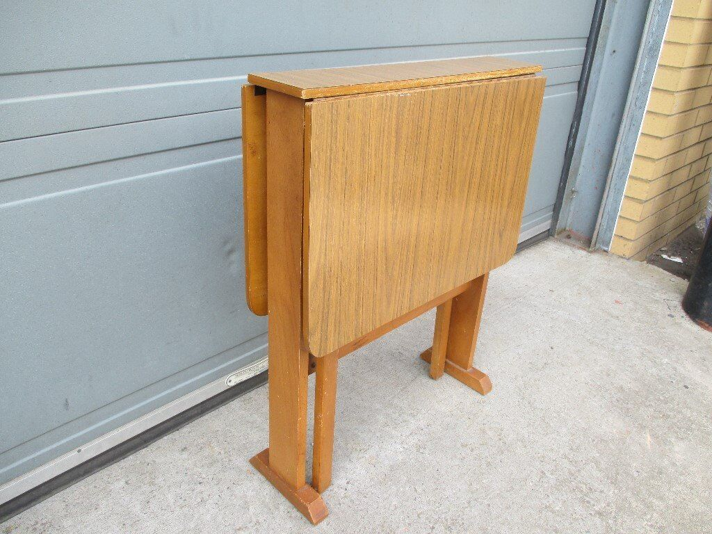 Vintage retro teak effect narrow drop leaf gate leg dining for Thin dining table