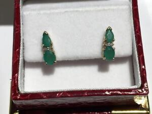 #3399 10K YELLOW GOLD EMERALD BUTTERFLY BACK EARRINGS *JUST BACK FROM APPRAISAL AT $1150.00!*