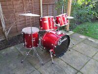 Drums - Beginners Ridgewood 5 Drum Kit - Red Sparkle