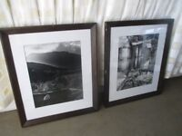 PAIR OF LARGE MODERN HEAVY DARK FRAMED BLACK AND WHITE PHOTO PRINTS PICTURES BOATHOUSE & MOUNTAINS