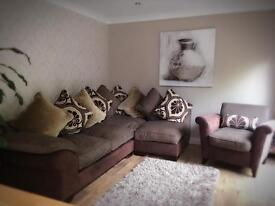 DFS Fake Suede Leather Settee, Chair and Footstool