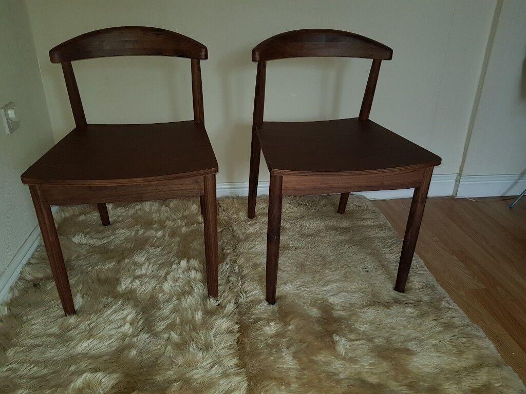 Set Of 2 Elegant Walnut Wood Dining Chairs La Redoute In Birchwood Cheshire Gumtree