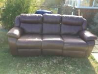 REAL LEATHER THREE OR TWO SEATER SOFA SETTEE WITH RECLINERS