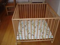Playpen 1 metre square X 80cm high, Geuther (beech), excellent condition, castors, easy disassembly.