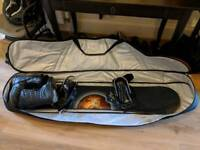 Snowboard (155cm), bindings, boots and carry case.