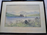 "Lovely Watercolour ""Castle On Loch"" Framed With Glass & Signed By Artist (15.5"" W x 20.5"" L)"